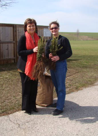 Elaine Fischer delivers 100 White Spruce Seedlings to Wendy Kolohon
